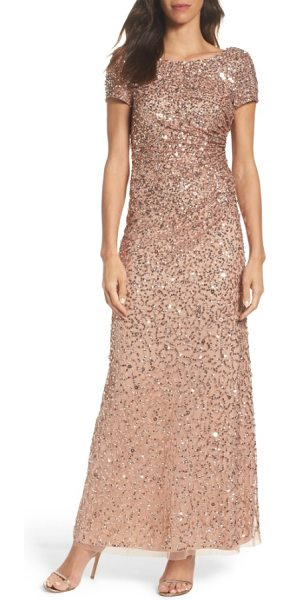 Adrianna Papell sequin cowl back gown in rose gold - A mix of sequins douses this mesh evening gown in...
