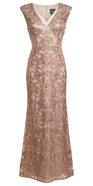 Adrianna Papell sequin embroidered gown in pink - An elegant lace gown with a sheer neckline trim feels...