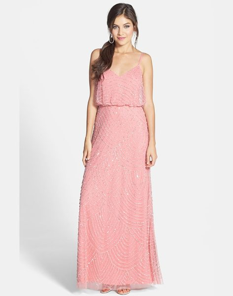 Adrianna Papell embellished blouson gown in sorbet - Scalloped lines of iridescent, metallic beads and...