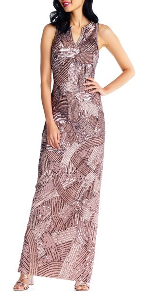 ADRIANNA PAPELL sequin gown - Catch all the light in the room with the geometric trail...