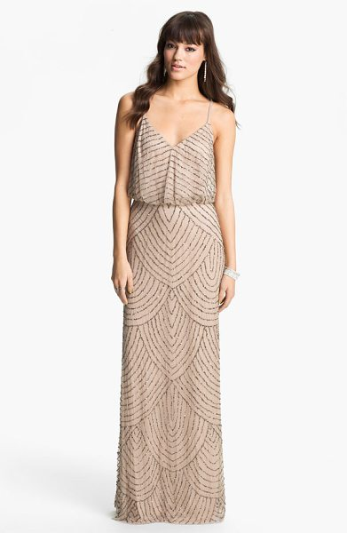 Adrianna Papell embellished blouson gown in taupe/ pink - Shining metallic beads and sequins accentuate the...