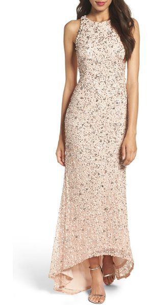 Adrianna Papell sequin high/low gown in blush - A liquid-shine layer of sequins puts you in a glam...