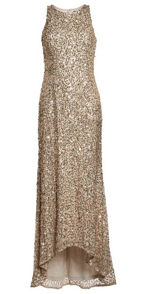Adrianna Papell sequin high/low gown in champagne/ gold - A liquid-shine layer of sequins puts you in a glam...