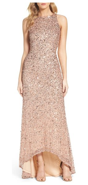 Adrianna Papell sequin high/low gown in rose gold - A liquid-shine layer of sequins puts you in a glam...