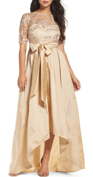 Adrianna Papell sequin lace & taffeta ballgown in pale gold - A glimmering-gold ballgown plays with mixed-media...