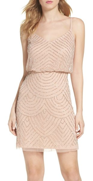 Adrianna Papell sequin mesh blouson dress in blush - Glimmering beads and sequins scale the mesh length of an...