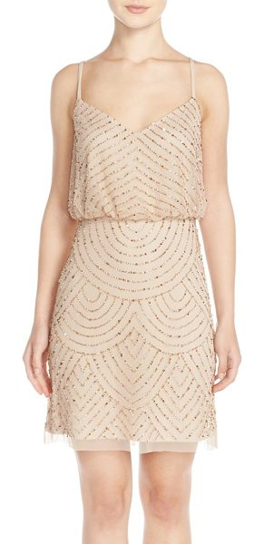 Adrianna Papell sequin mesh blouson dress in champagne/ gold - Glimmering beads and sequins scale the mesh length of an...