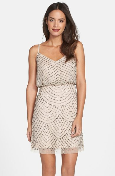 Adrianna Papell sequin mesh blouson dress in taupe/ pink - Glimmering beads and sequins scale the mesh length of an...
