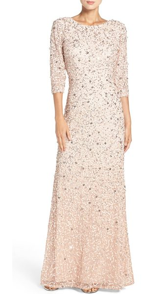 Adrianna Papell sequin mesh gown in blush - Tonal sequins diffuse multidimensional sparkle all over...