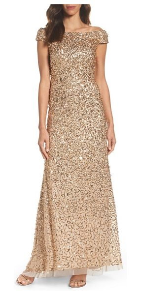 Adrianna Papell sequin mesh gown in champagne/ gold - A stylized mix of sequins showers this shoulder-grazing...