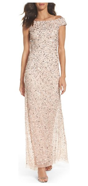 Adrianna Papell sequin mesh gown in blush - A stylized mix of sequins showers this shoulder-grazing...