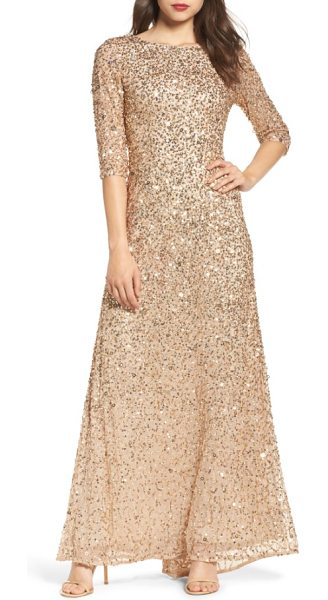 Adrianna Papell sequin mesh gown in champagne/ gold - Tonal sequins diffuse multidimensional sparkle all over...