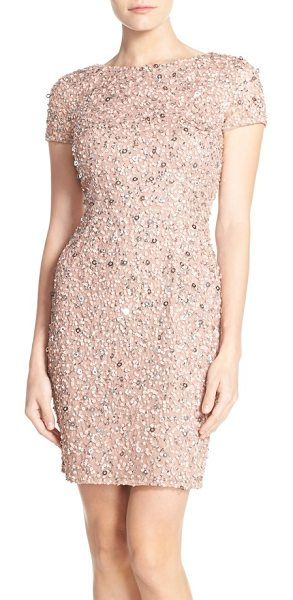 Adrianna Papell sequin mesh sheath dress in antique rose - Twinkling sequins shimmer all over bestselling dress by...