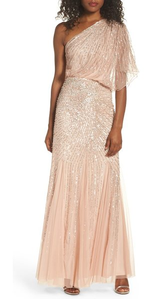 ADRIANNA PAPELL sequin one-shoulder gown in blush - Beautifully draped fabric cascades down the single...