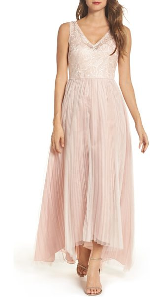 Adrianna Papell sequin pleated tulle high/low gown in blush