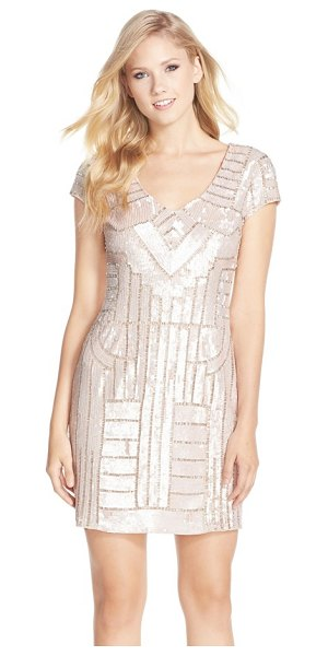 ADRIANNA PAPELL sequin sheath dress - Soft-hued sequins lend a modern geometric pattern to a...