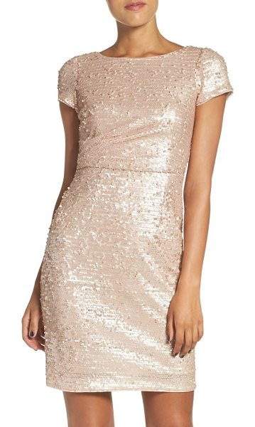 Adrianna Papell sequin sheath dress in nude - Pastel paillettes douse this cap-sleeve cocktail dress...