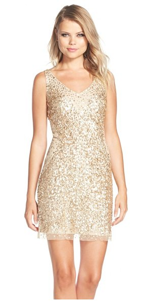Adrianna Papell sequin tulle sheath dress in nude/ gold - Allover metallic sequins densely gather toward the...