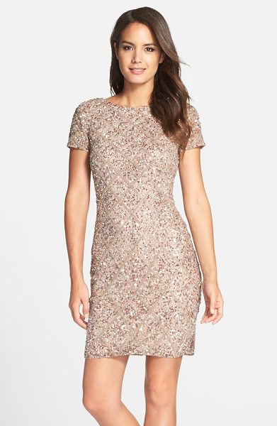 Adrianna Papell short sleeve beaded cocktail dress in mink - A scooped back adds an elegant flourish to a classic...