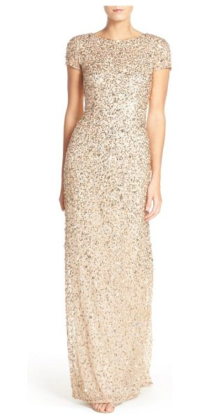 ADRIANNA PAPELL short sleeve sequin mesh gown in champagne/ gold - Sparkling embellishments swirl around this wildly...