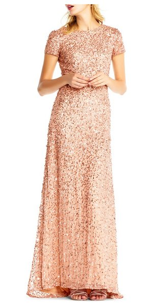 ADRIANNA PAPELL short sleeve sequin mesh gown in rose gold - Sparkling embellishments swirl around this wildly...
