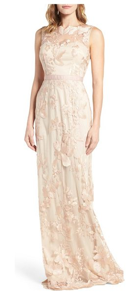 Adrianna Papell sleeveless embroidered tulle gown in blush/ gold - Gorgeous floral embroidery traces the tulle overlay of...