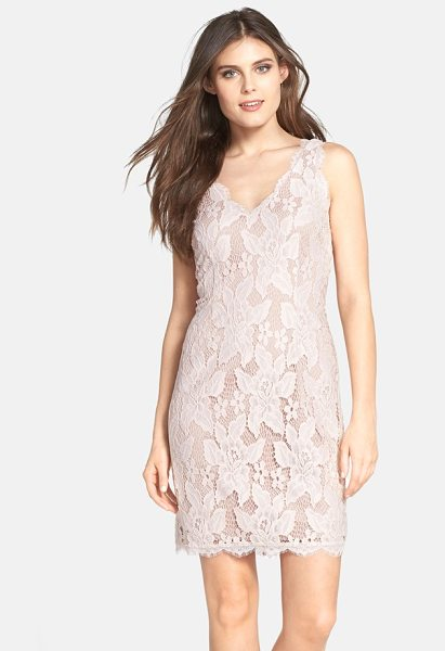 Adrianna Papell sleeveless lace cocktail dress in blush - Double V-necklines set an alluring tone for a...