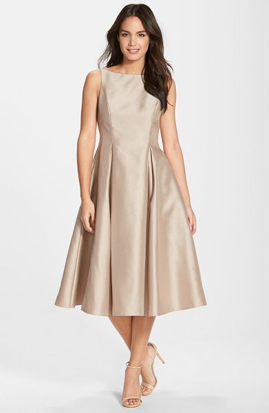 Adrianna Papell sleeveless mikado fit & flare midi dress in champagne - A gorgeous sheen brightens the hue of a mikado party...