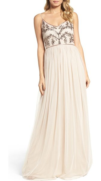 Adrianna Papell spaghetti strap embroidered bodice gown in biscotti - Luminous beads and flashing sequins trace a dazzling...