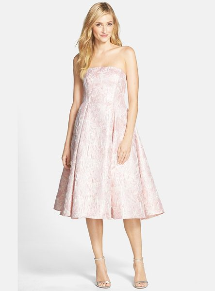 Adrianna Papell strapless floral jacquard fit & flare dress in pink - Metallic threading lends subtle luster to a lovely...
