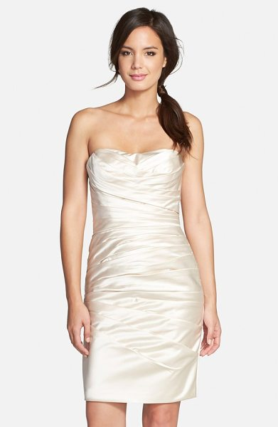 Adrianna Papell strapless satin sheath dress in champagne - Pristine pleats structure an alluring sheath dress...