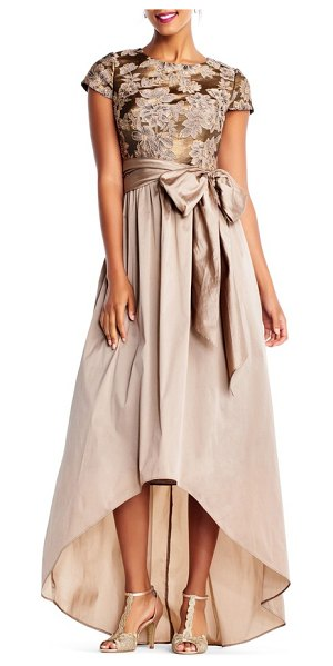 Adrianna Papell taffeta high/low gown in antique gold - The lustrous taffeta skirt that gently floats over the...