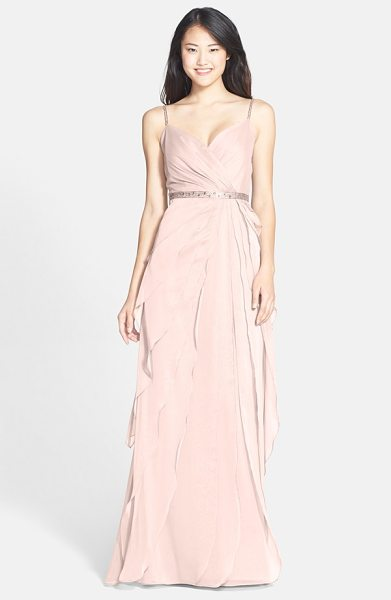 Adrianna Papell tiered chiffon gown in peach - The gathered surplice-neckline bodice of a diaphanous...