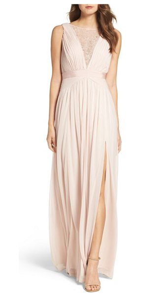Adrianna Papell tulle & lace gown in blush - Embellished with twinkling sequins and beads, a sheer...