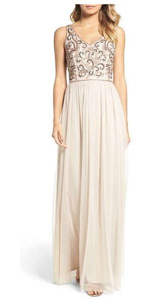 Adrianna Papell v-neck embroidered bodice gown in biscotti - Light-catching sequins and shimmering beads trace an...
