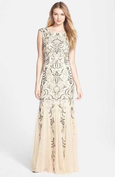 Adrianna Papell beaded mermaid gown in champagne - Polished beads and sequins chart intricate tapestry...