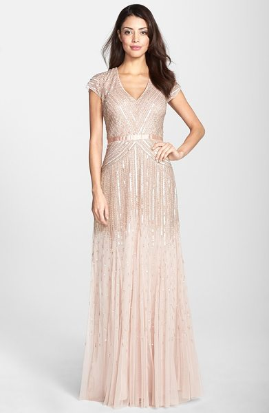 Adrianna Papell embellished mesh gown in blush