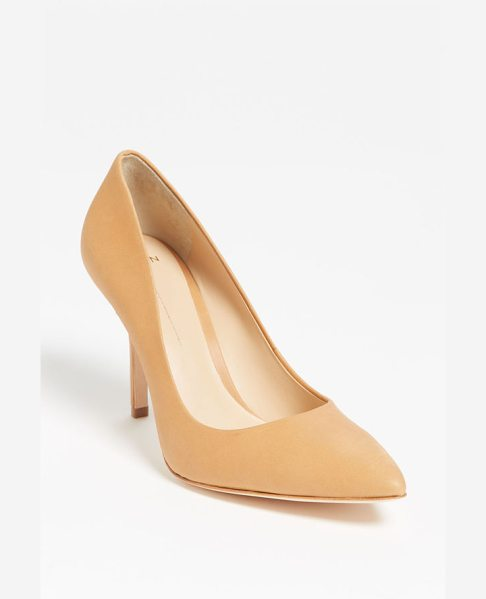 Aerin fira pump in tan - A lovely almond-toe pump is cast in genuine snakeskin...