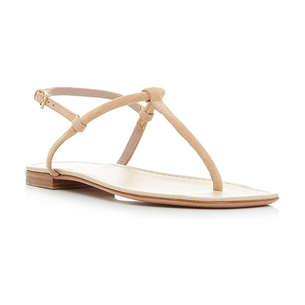 Aerin Suede T-Strap Sandal in tan - This *Aerin* sandal is rendered in suede leather and...