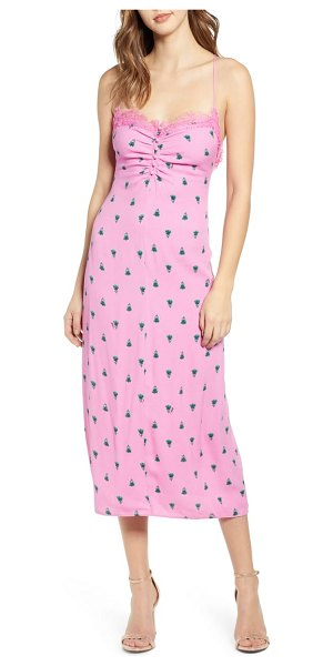 AFRM clyde lace trim midi dress in pink