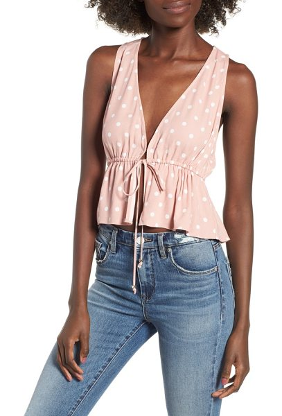 AFRM maiden tie front tank in misty rose polka dot - Peppy polka dots flourish on this bright and breezy...