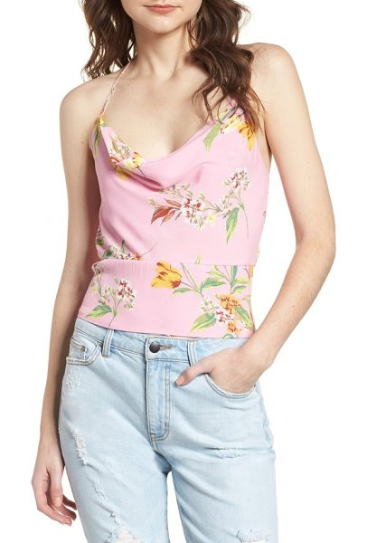 AFRM rimini cowl neck tank in pink tulip - With a gracefully draped neckline and a slim strappy...