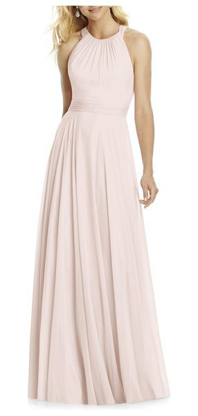 After Six chiffon a-line gown in blush - Made with layers of lightweight chiffon, this ethereal...