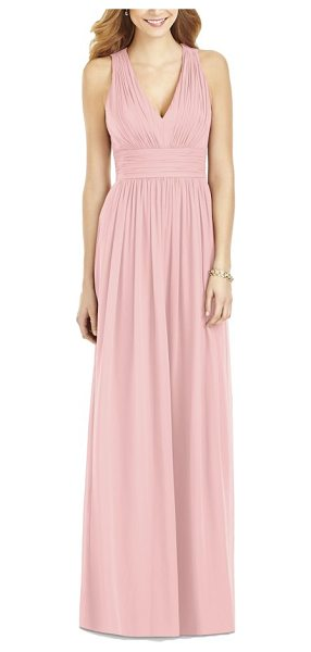 After Six crisscross back ruched chiffon v-neck gown in rose - Lavish ruching enhances the softly romantic look of a...