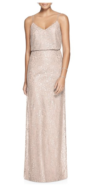 After Six metallic lace two-piece gown in beige