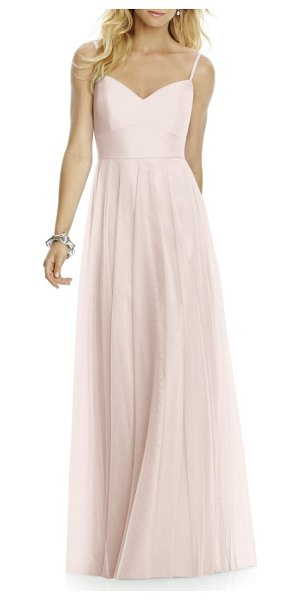 After Six sleeveless tulle a-line gown in blush - Sophisticated and elegant, this softly voluminous gown...