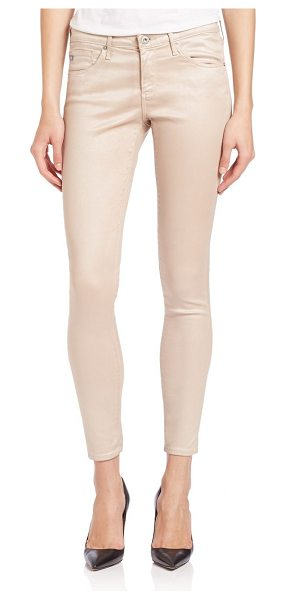 AG ADRIANO GOLDSCHMIED Coated legging ankle jeans - Streamlined jeans in coated cotton blendBelt loopsZip...