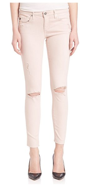 AG ADRIANO GOLDSCHMIED ed denim distressed legging ankle jeans in sun-faded distressed sandy rose - From the AGed Denim collection. On-trend skinny fit...