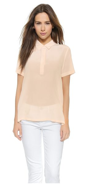 AG Adriano Goldschmied Meadows silk blouse in pink dust - A split, asymmetrical hem lends an airy drape to this AG...