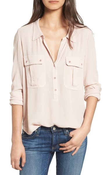 AG Adriano Goldschmied nevada cotton henley shirt in rose quartz - Loosely woven for a crinkled texture, this...